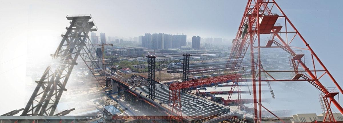 航拍郑北大桥施工进入顶推阶段