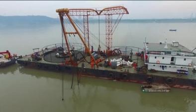 航拍視頻:長江安徽段新添一條10千伏級江底跨江電纜