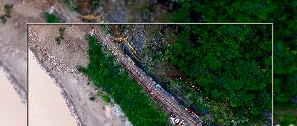 航拍:直擊寶成鐵路山體崩塌段搶險現場