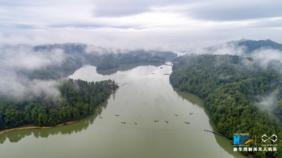 航拍江西仙女湖:煙雨江南之美