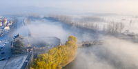 航拍:霧鎖古城 夢幻壽州
