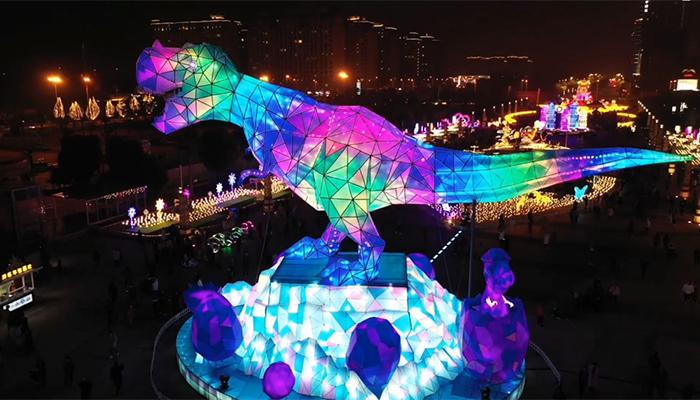 文化點亮生活 航拍璀璨燈光耀龍城