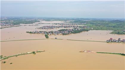 新華鷹|江西鄱陽昌洲鄉中洲圩決口開始封堵