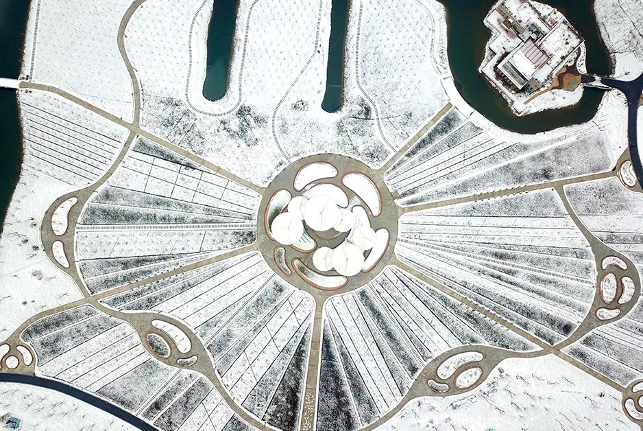 雪中探秘:鹽城航拍基地