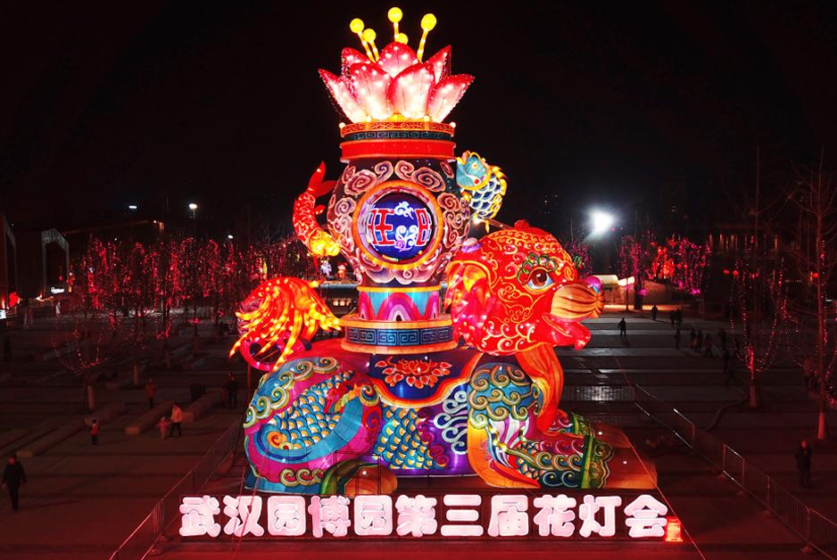 元宵佳節看花燈 航拍武漢園博園燈會