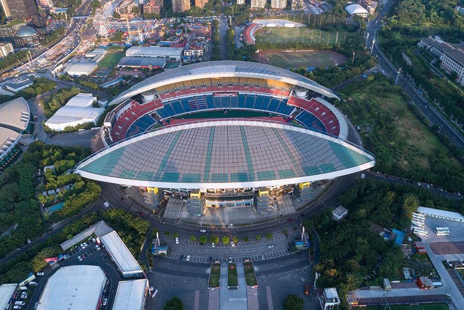 換個角度更美!無人機鳥瞰重慶奧體中心